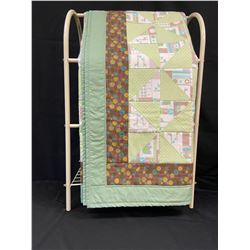 Handmade Baby Quilt - Green/Brown