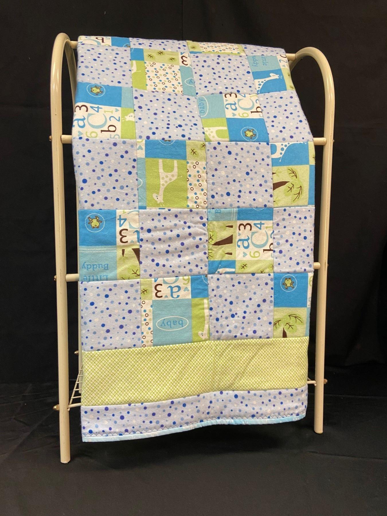 Handmade Baby Quilt Blue/Green