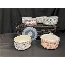 Set of 6 Microwave Bowls W/Lids