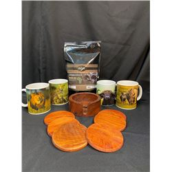 Seeds of Hope Coffee/African Animal Mugs/Coasters from Thailand