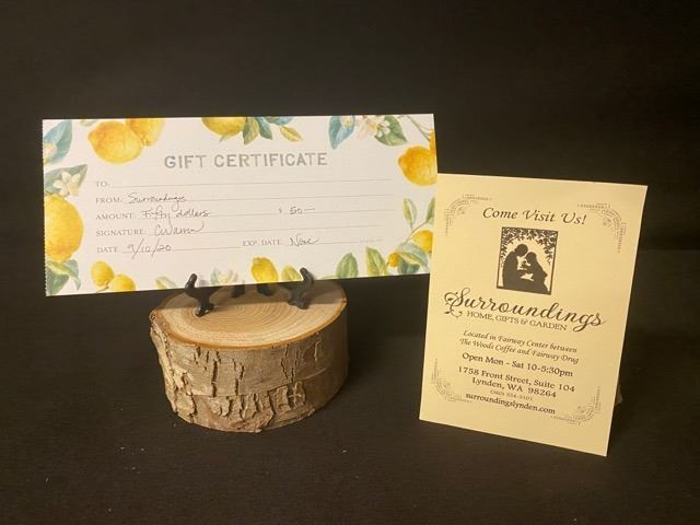 $50.00USD Gift Card to Surroundings Gift Shop - Lynden