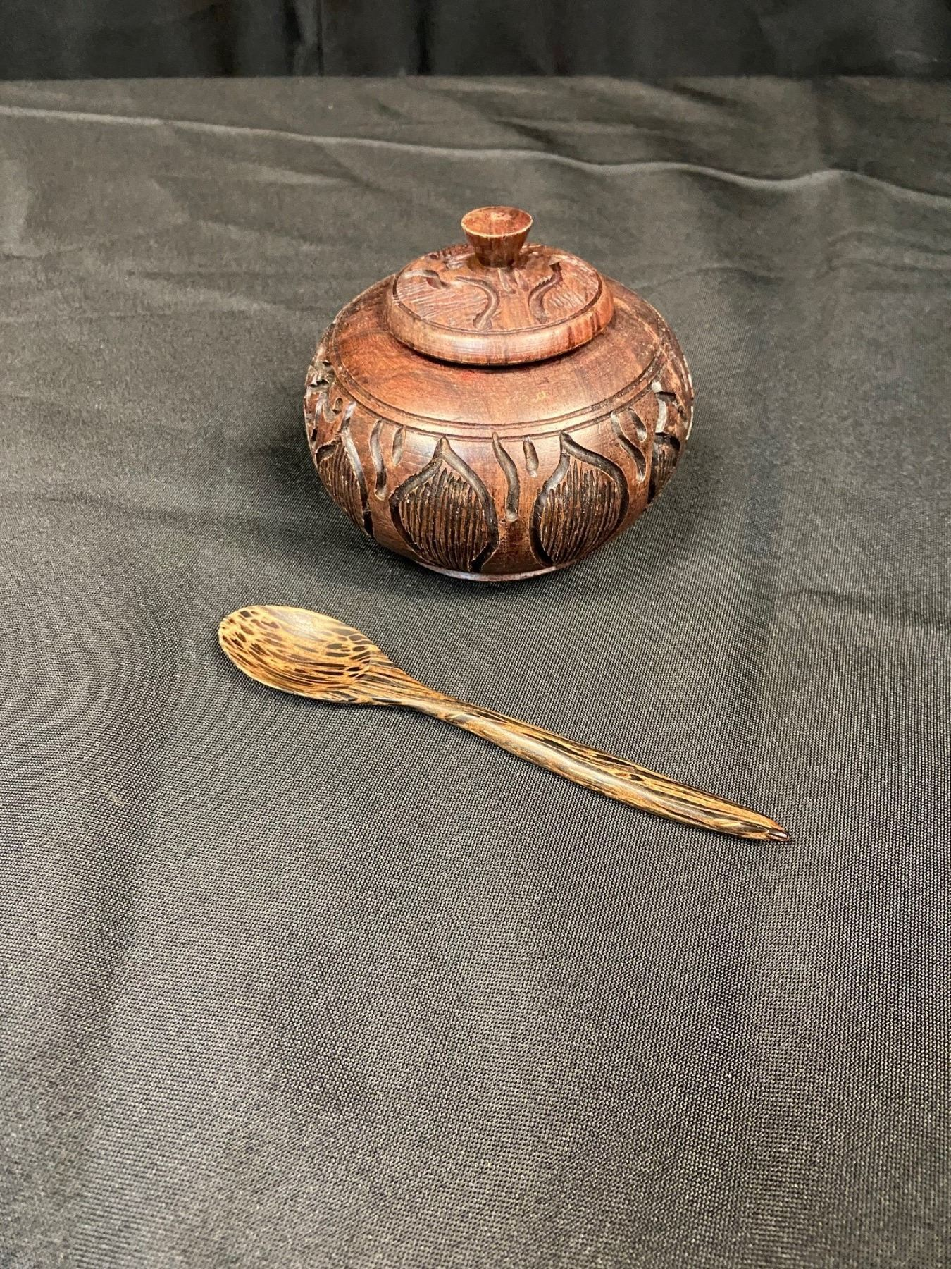African Wooden Dish & Spoon