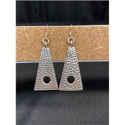 Silver Triangle Pendant Earrings
