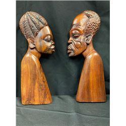African Wooden Wall Sculpture  Set of 2