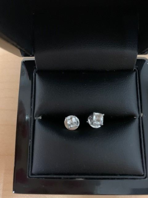 White Sapphire Stud Earrings