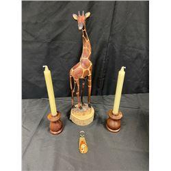 Wooden Table Giraffe, Giraffe keychain, Wooden Candle Holders