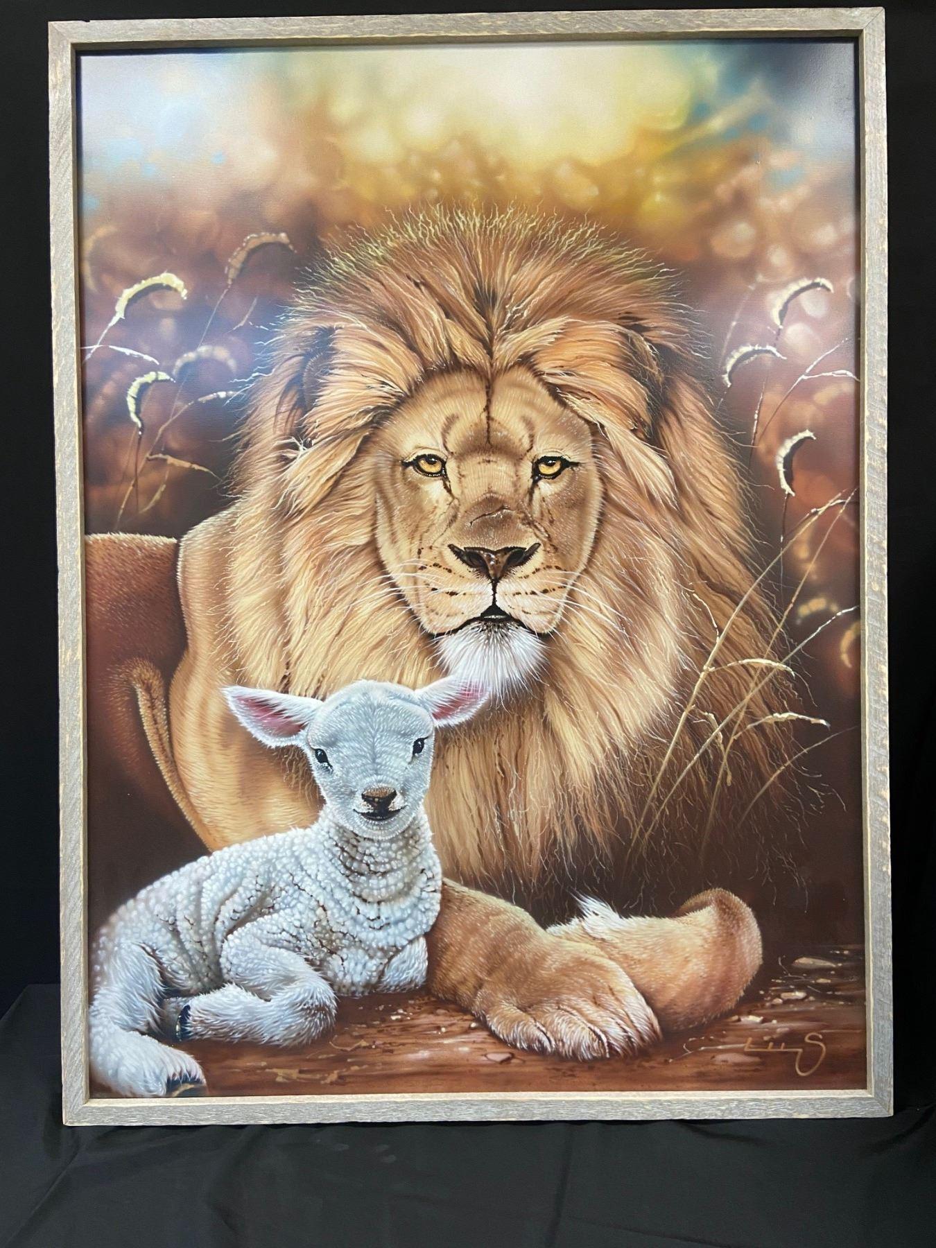 Revelation  The Lion & The Lamb Original Airbrush Painting