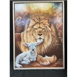 """Revelation"" The Lion & The Lamb Original Airbrush Painting"