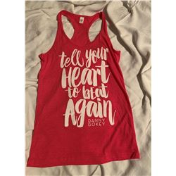 """Racerback TShirt  """"Tell Your Heart To Beat Again"""" Size Medium"""