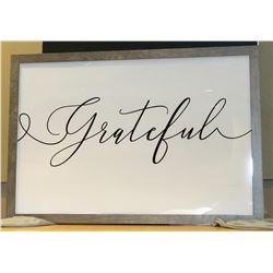 "Framed Glass ""Grateful"""