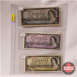 Canada 1954 Bills (3): $5 Beattie/Rasminsky LS8605551 & $10 Beattie/Rasminsky RV7630775 & $20 Beatti