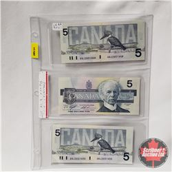Canada $5 Bills 1986 Sequential (3) : Knight/Thiessen ANJ2051448/49/50