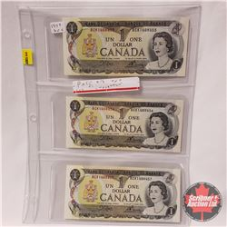 Canada $1 Bills 1973 Sequential (3) : Crow/Bouey BCK1408455/56/57