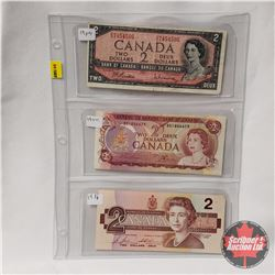 Canada $2 Bills (3): 1954 Beattie/Rasminsky OU7454505 & 1974 Lawson/Bouey BD1846679 & 1986 Bonin/Thi