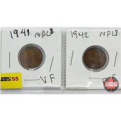 Newfoundland One Cent - Strip of 2: 1941; 1942