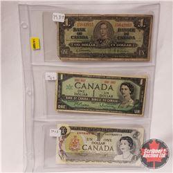 Canada $1 Bills (3): 1937 Gordon/Towers YA5842955; 1867-1967 Beattie/Rasminsky; 1973 Lawson/Bouey AA
