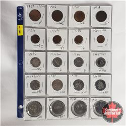Canada Coins - Sheet of 20: Large Cent 1859; 1916; 1917; 1918 Small Cent 1936; 1944; 1950; 1967 Five