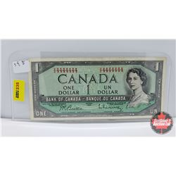 Canada $1 Bill 1954 (One Digit Radar!) Beattie/Rasminsky VZ4444444