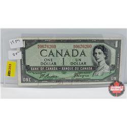 Canada $1 Bill 1954DF : Beattie/Coyne MA0676260