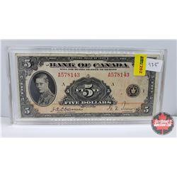 Bank of Canada $5 Bill 1935 Osborne/Towers A578143
