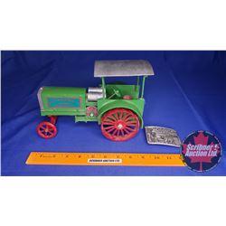 """Heider C Tractor (heavy cast) """"Rock Island Plow Co."""" (Scale: 1/16) c/w Fine Pewter Belt Buckle Limit"""
