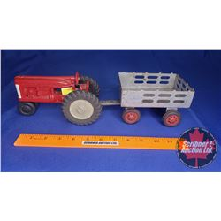Hubley JR Toy Tractor & Marx Wagon