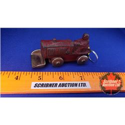 Vintage Cast Toy Tractor with Bucket (Bucket Stamped: T 83 7 10) Bottom of Tractor Stamped : Lic - P
