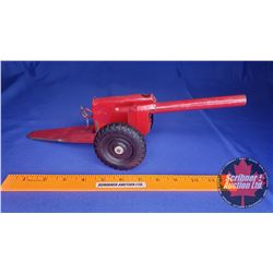 "Vintage Spring Loaded Metal Toy Cannon (Red) (14"" Total Length)"