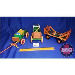 Custom Made Wooden Wagons (3): Grain Box & Dray Wagon w/Cream Cans & Hay Rack