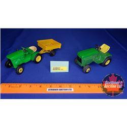 John Deere 110 Garden Tractor w/Trailer (Scale: 1/16) (Repainted) & John Deere 300 Series Garden Tra