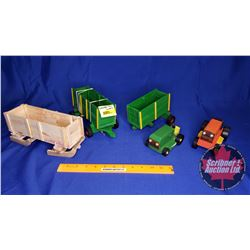 Custom Wooden Toy Grouping: Wagons, Bob Sleigh & Lawn Tractors