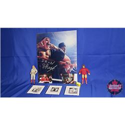 "Iron Sheik & Nikolai Volkoff Collector Combo: Authentic Autographed Photo; 2 Figures (7""H) & DVDs (3"