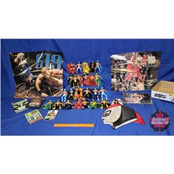 "Masked Wrestler Tray Lot : 25 Action Figures (5-1/2""H); DVDs; Wrestling Mask; Autographed Photograph"