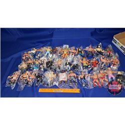 "Tray Lot : 37 Wrestling Action Figures (4-1/2""H)"