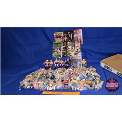 "Tray Lot : 37 Wrestling Action Figures (4-1/2"" & 5""H) w/8 DVDs"