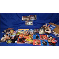 John Cena Tray Lot : Micro Figurines; DVDs (2); Wall Calendars (3) & Magazines (11) (All Items Conta