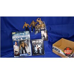 "Dwayne ""The Rock"" Johnson Box Lot : DVD Set;  Variety of Action Figures (6) & Mini Magazine"