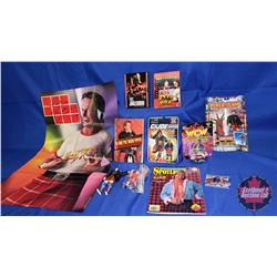Rowdy Roddy Piper Box Lot : Action Figures (4); Magazine; Autographed Collector Card; DVDs; Book; et