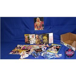 Ric Flair Box Lot : Action Figures (5); DVDs; Autographed 8x10 Photograph; Book & Magazines