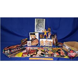 Hulk Hogan Box Lot : Autographed 8x10 Picture; Magazines; Books; DVDS; Action Figures (5); Glass Jui