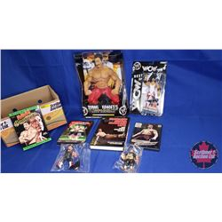 "Eddie Guerrero Box Lot : Ring Giant 14"" Poseable Action Figure; Assorted Action Figures (3); Book; D"