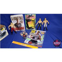 Chris Jericho Box Lot : Action Figures (4); Ladder; Book & Magazine