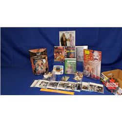 Iron Sheik Box Lot : Autographed 8x10 Photograph; DVDs; Action Figures (5) & Handheld Electronic Gam