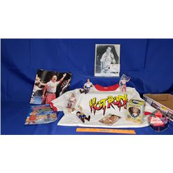 Rowdy Roddy Piper Tray Lot : 2XL T-Shirt; Mini Magazine; Autographed 8x10 Photograph; Vinyl Aggressi