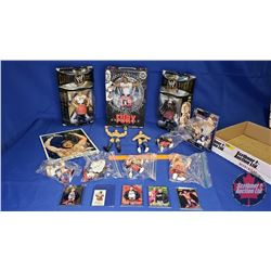 Rowdy Roddy Piper Tray Lot : Autographed 8x10 Photograph; Variety of Action Figures (9); etc