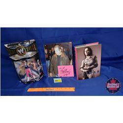 Bret Hart Trio : Autographed Book & Photograph w/Action Figure