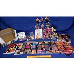 """Bret Hart Box Lot : Magazine; """"Martha Hart"""" Autographed Book; Action Figures; DVDS; etc"""