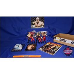 Kane Tray Lot : Autographed 8x10 Photograph; DVDs; Magazine; Action Figures (7)