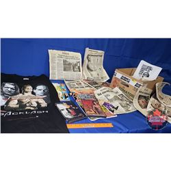 Chris Benoit Box Lot : XL T-Shirt; DVDs (2); Action Figures (2);  Newspaper Articles & Magazines