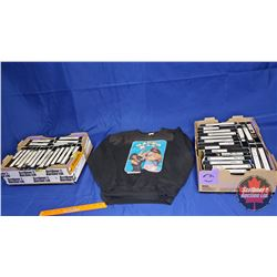 Tray Lots (2) : Wrestling VHS Tapes Recorded from TV (37 Tapes) w/Vintage Macho Man Sweatshirt (Size